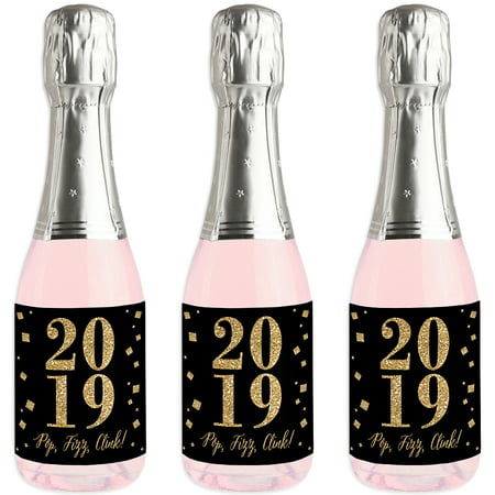 New Year's Eve - Gold - Mini Wine and Champagne Bottle Label Stickers - 2019 New Years Eve Party Favor Gift for - Masquerade New Years Eve Party