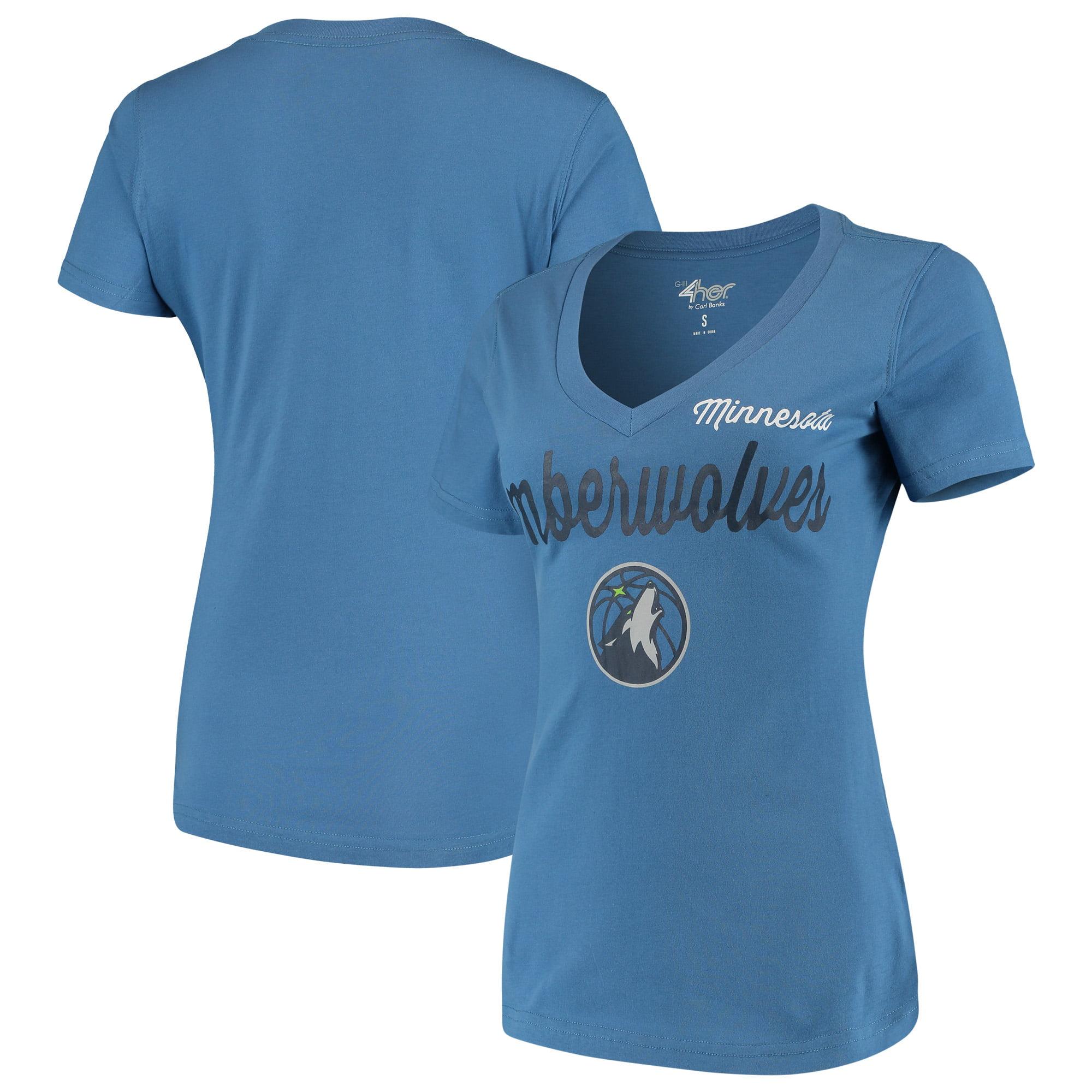 Minnesota Timberwolves G-III 4Her by Carl Banks Women's Post Season V-Neck Short Sleeve T-Shirt - Blue