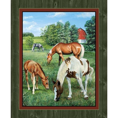 Quilt Fabric Panel - Horse Panel Quilt Panel Wall Panel Valley Crest Fabric by the Yard, 1 Adorable horses in the pasture Fabric Panel By Springs Creative Products