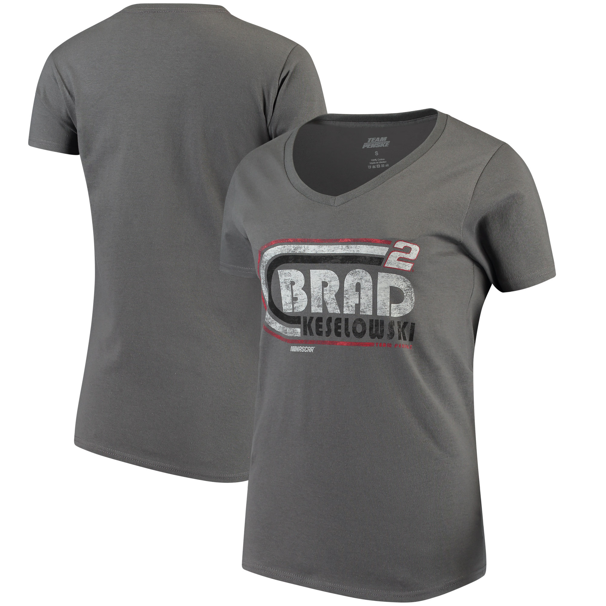 Women's Checkered Flag Charcoal Brad Keselowski Retro V-Neck T-Shirt