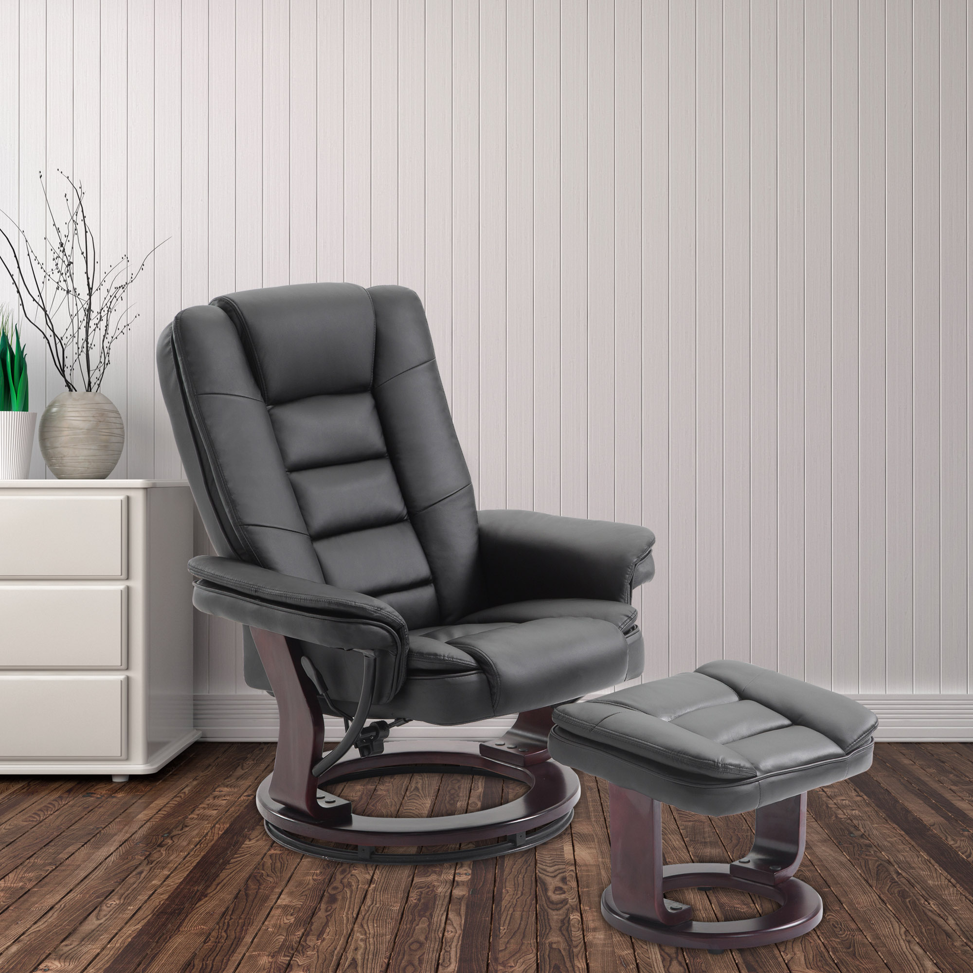 Cloud Mountain PU Leather Recliner Chair And Ottoman Swivel Lounge Leisure Living  Room Furniture Set,