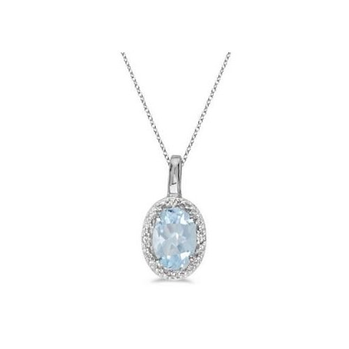 Seven Seas Jewelers Oval Aquamarine & Diamond Pendant Necklace 14k White Gold (0.40ctw) by Brand New