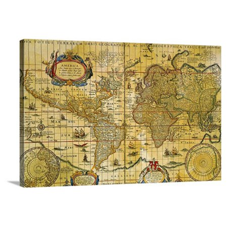 Great Big Canvas Vintage World Map Canvas Wall Art Print Walmart Com