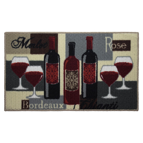 """Structures Wine Time Printed Textured Loop 18"""" x 30"""" Wedge Kitchen Accent Rug"""