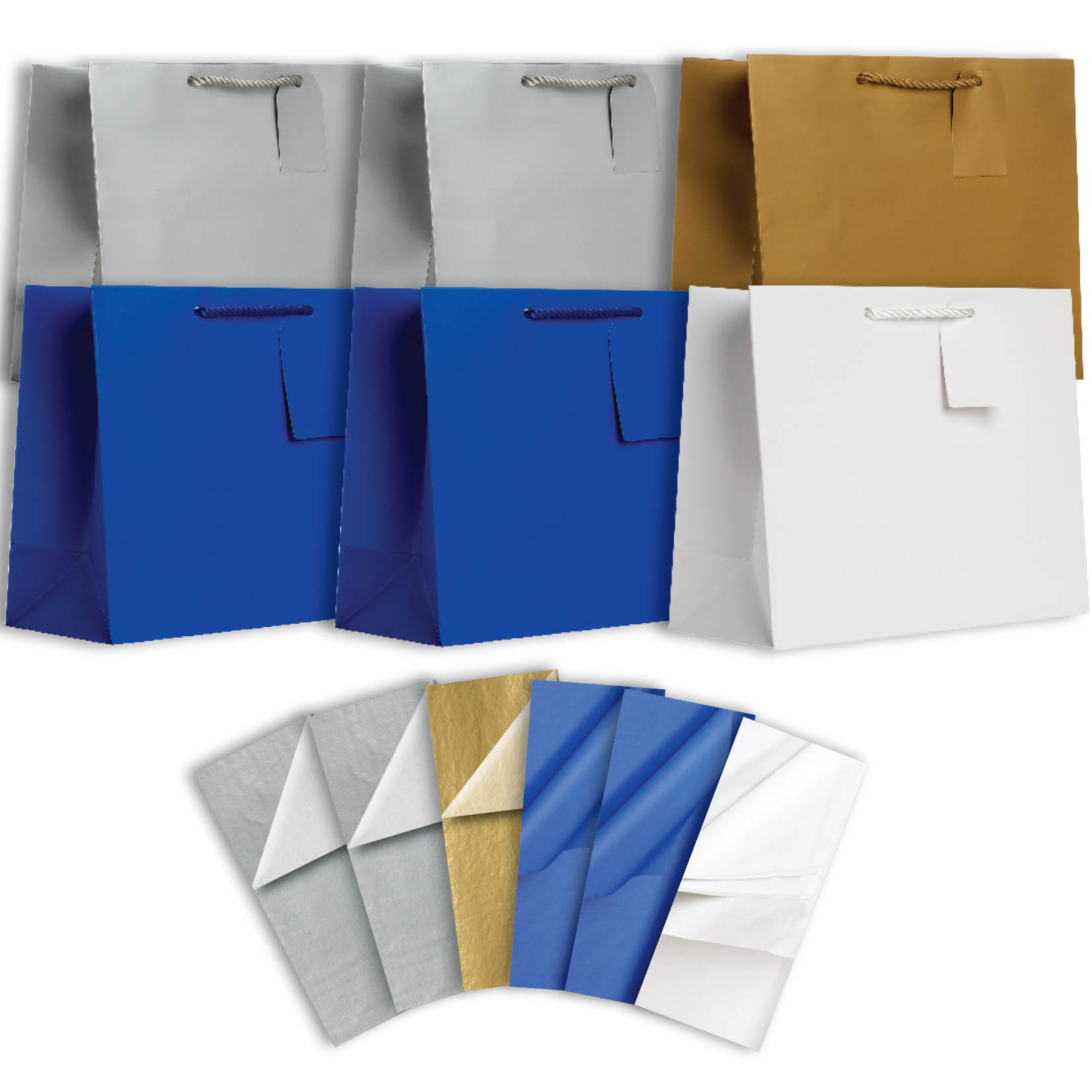 Jillson & Roberts Solid Color Matte Large Gift Bag & Tissue Assortment, Hanukkah (6 Bags)