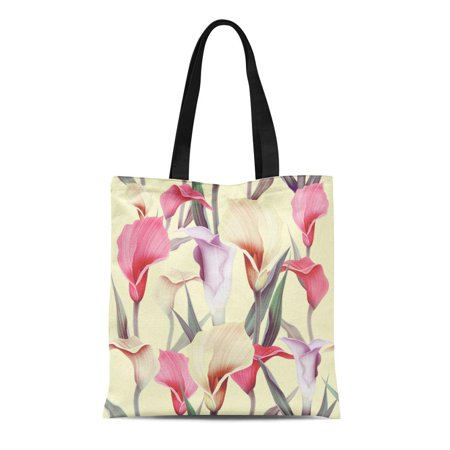 Tropical Chill Bag (ASHLEIGH Canvas Bag Resuable Tote Grocery Shopping Bags Green Tropical Calla Lilly Flower Elegant Colorful Pattern with Garden Floral Pl Tote)