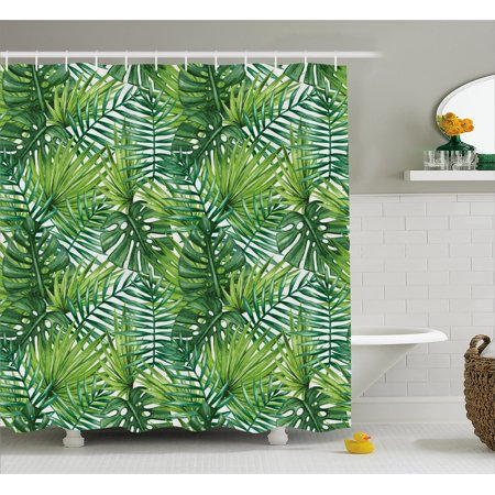 Leaf Shower Curtain, Tropical Exotic Banana Forest Palm Tree Leaves ...