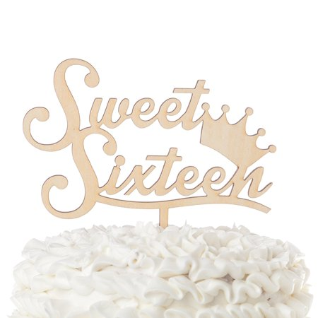 Sweet Sixteen 16 Wooden Cake Topper 16th Birthday Party Customizable Decoration (Sweet Sixteen Crown)