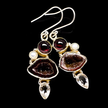 Coconut Geode Druzy, Garnet, White Quartz, Cultured Pearl Earrings 2