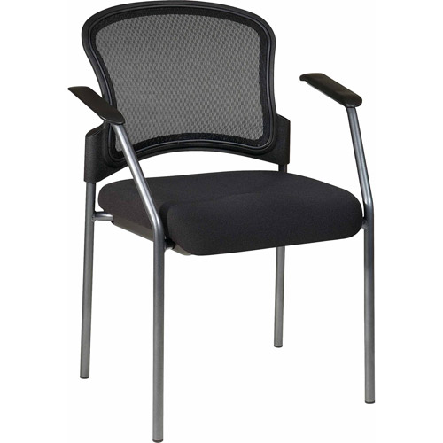 ProGrid Contour Back Titanium Finish Visitors Chair with Arms