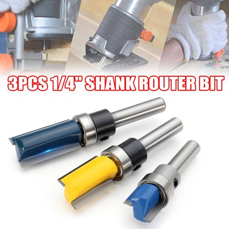 ESYNIC 3PCS 1/4'' Shank Flush Trim Pattern Router Bit Set Top Bearing Milling Cutter ()