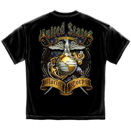 Marine Corps, USMC T-Shirt Usmc Crossed Swords Foil Black Sword S/s Tee