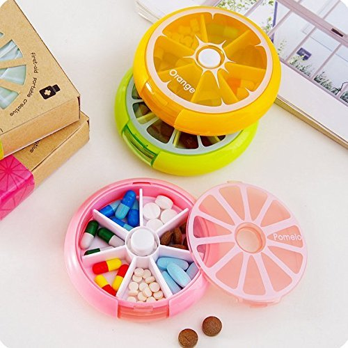 Portable Rotating 7 Day Weekly Pill Organizer Storage Case Box Tablet Holder Vitamin Medicine Travel Case Cute Fruit Style, Pink Pomelo - Walmart.com