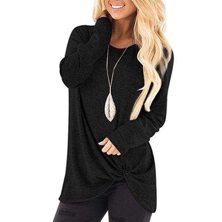 JustVH Women's Solid Color Round Neck Casual Sweatshirt Side Twist Knotted Tops Blouse