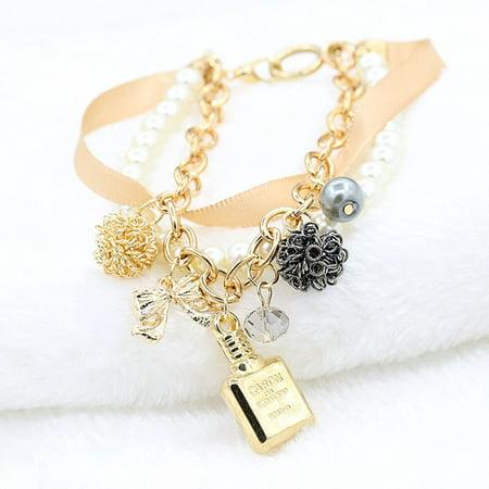 VENSE Girls perfume bottle decorative jewelry pearl ribbon bow crystal bracelet - image 1 of 4