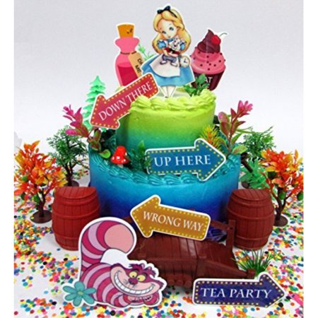 Alice In Wonderland Adventureland Birthday Cake Topper Set With Cheshire Cat And Other Decorative Themed Accessories
