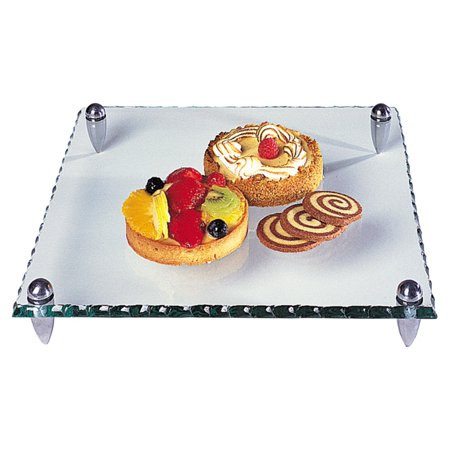 - Badash Mercury Square 12. Glass Serving Tray with Hammered Edge