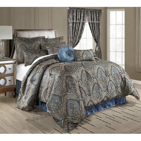 Chezmoi Collection Seville 9-Piece Medallion Paisley Floral Jacquard Oversized Comforter Set Gold King Comforter