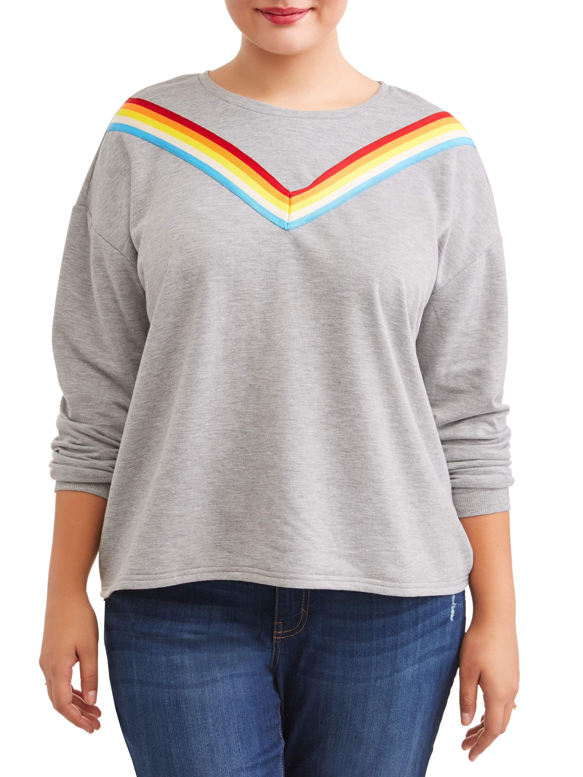 Juniors' Plus Size Rainbow Striped Sweatshirt