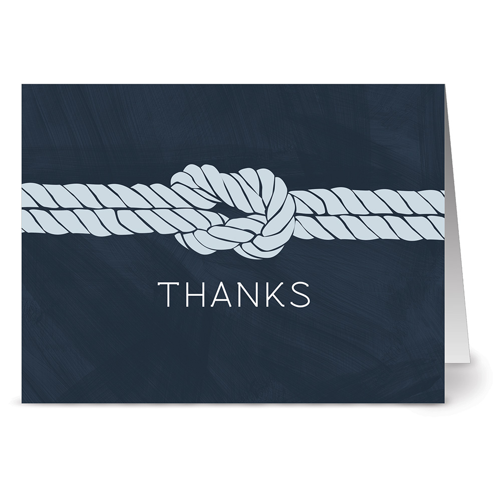 24 Thank You Note Cards - Nautical Knot - Blank Cards - Gray Envelopes Included