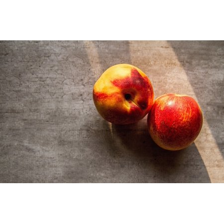 Fresh Nectarines (LAMINATED POSTER Wooden Nectarines Table Fresh Fruits Peaches Food Poster Print 24 x 36 )