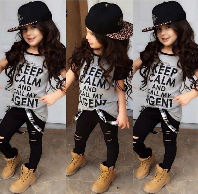 Stylish 2Pcs Kids Baby Girls Clothes T-shirt Tops Dress Denim Pants Outfits Set