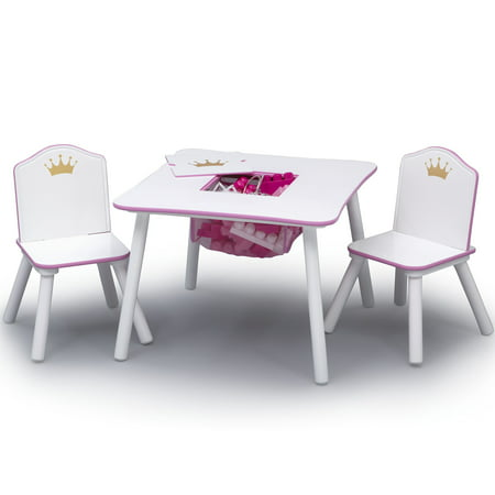 Fabulous Delta Children Princess Crown Kids Table And Chair Set With Storage White Pink Interior Design Ideas Philsoteloinfo