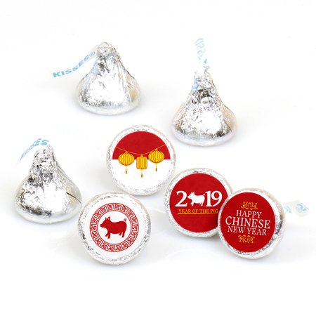 Chinese New Year - 2019 Year of the Pig Party Round Candy Sticker Favors - Labels Fit Hershey's Kisses (1 sheet of 108) - Chinese New Year Party