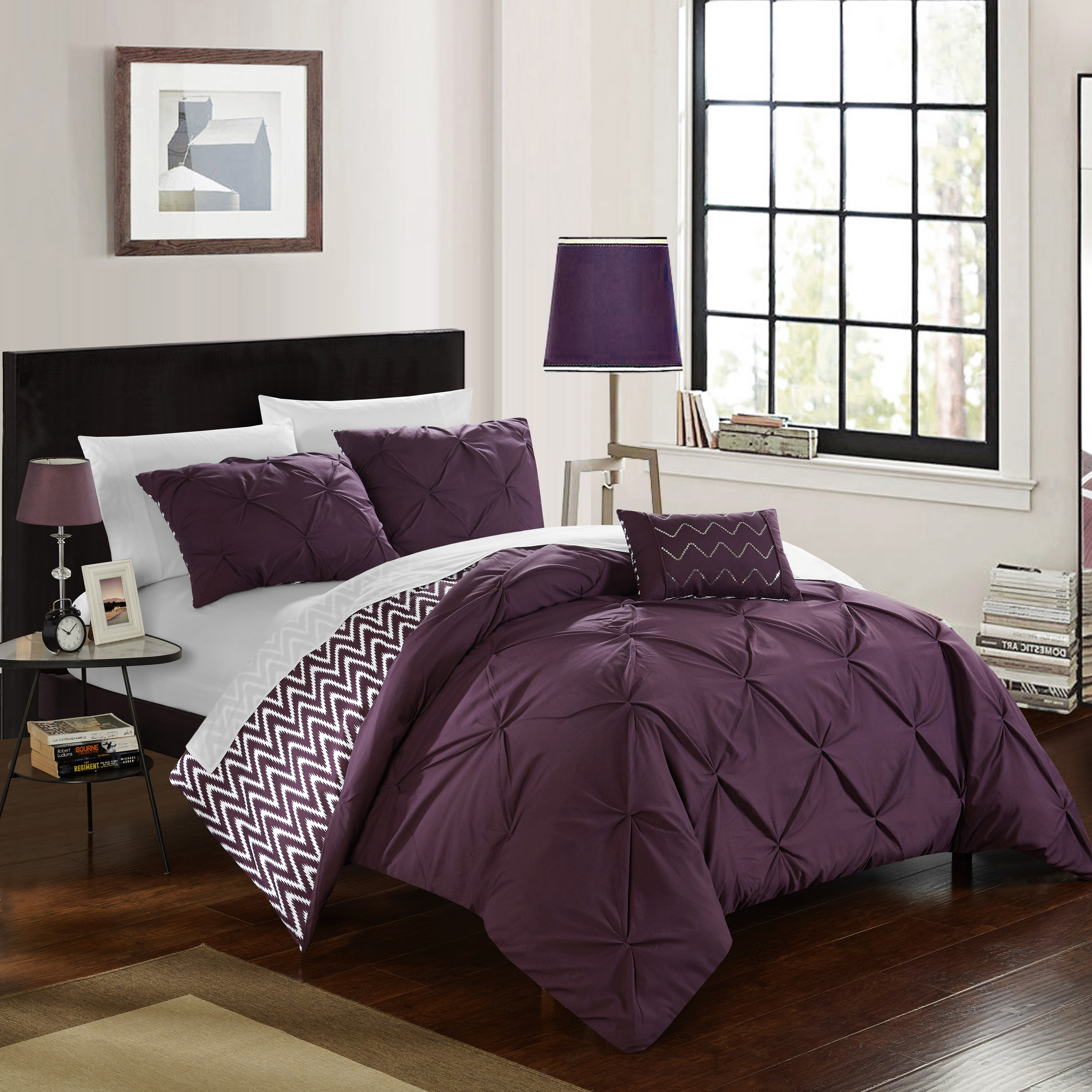 Chic Home 4-Piece Erin Pinch Pleated, REVERSIBLE Chevron Print ruffled and pleated complete Full/Queen Comforter Set Purple Shams and Decorative Pillows included