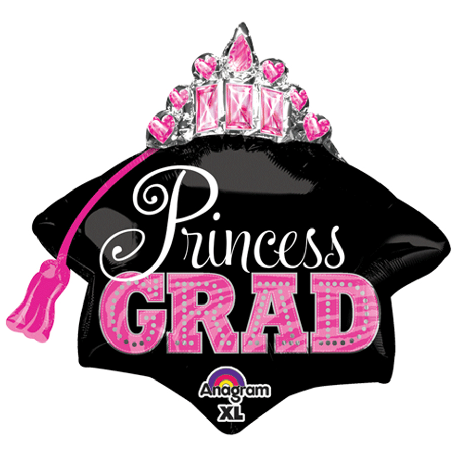 "Anagram Princess Grad Cap Decoration 26"" Foil Balloon, Pink Black"