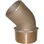 Groco PTHD Bronze Standard Flow 45 Degree Pipe-to-Hose Adapter with NPT Thread