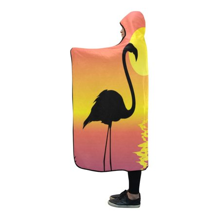 ASHLEIGH Hooded Blanket Tropical Scene Flamingos Throw Blanket 56x80 inch - Tropical Scenes
