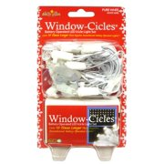 Set of 24 Pure White LED Battery Operated Mini Window Icicle Christmas Lights - White Wire