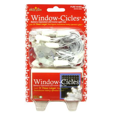 Set Of 24 Pure White Led Battery Operated Mini Window