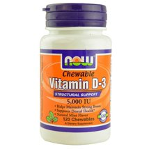 Vitamins & Supplements: NOW Supplements Vitamin D-3 Chewables