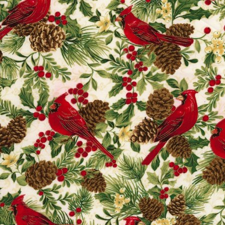 By Timeless Treasures - Clearance~Holiday~Cardinals on White Cotton Fabric by Timeless Treasures