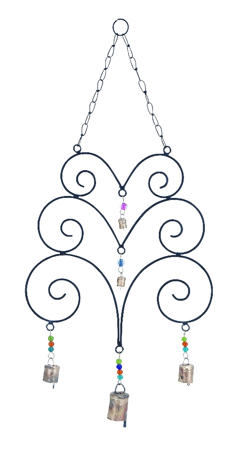 Metal Wind Chime With Great Eclectic Design With Abstract Design by Benzara