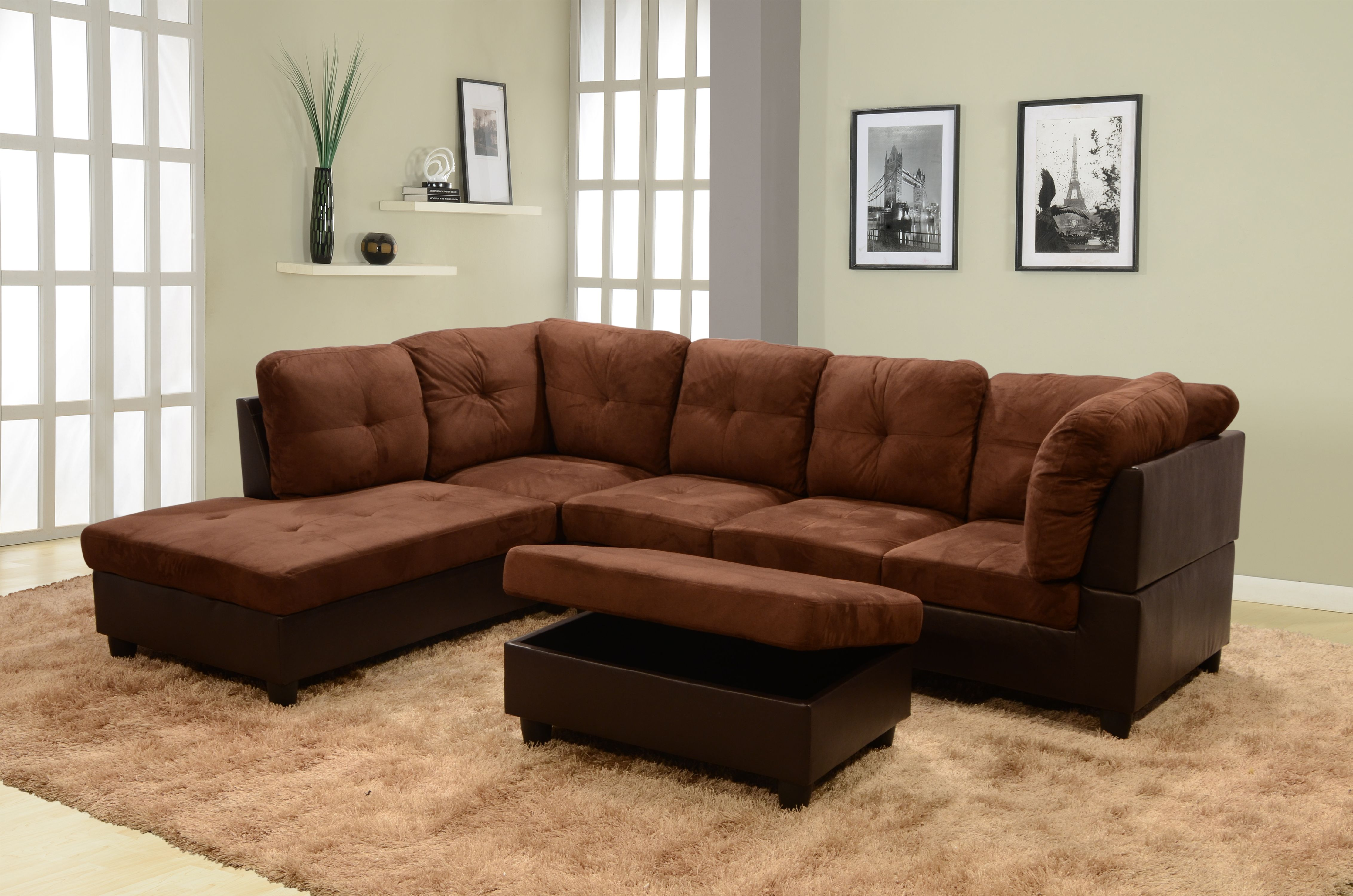 Cruz Left Facing Sectional Sofa with Ottoman, Chocolate
