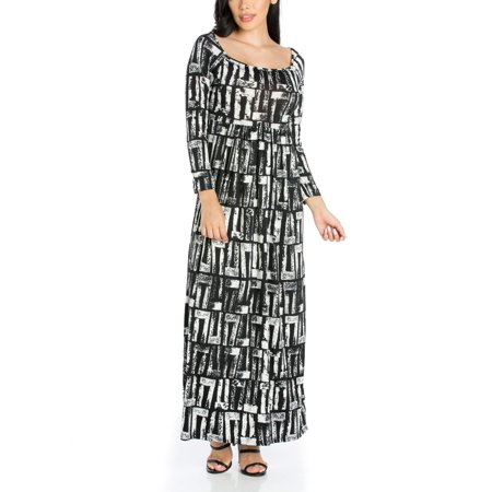 24seven Comfort Apparel Alluring Black and White Long Sleeve Maxi Dress