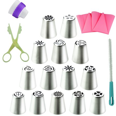 19Pcs Cake Cookie Sugar Macaron Decorating Supplies tips Kits-14 Stainless Steel Russian Icing Piping Nozzles Pastry Tips 2 Silicone Pastry Bag&1 Coupler&1 cream Scissor&1 Cleaning Brush