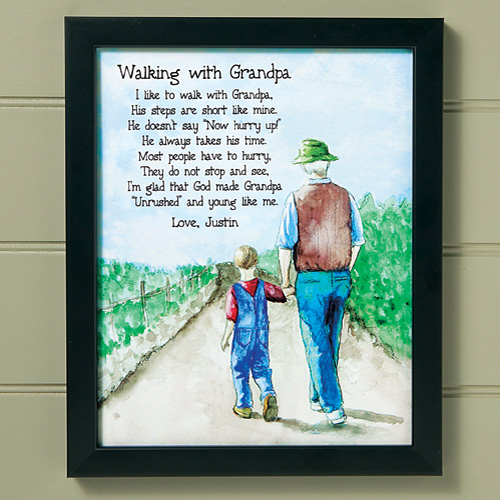 Personalized Walking with Grandpa Framed Print