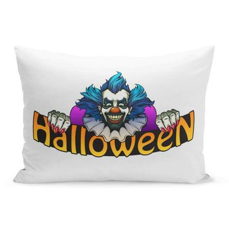 ECCOT Character Black Monster Evil Clown Halloween Green Bright Circus Pillowcase Pillow Cover Cushion Case 20x30 - Evil Circus
