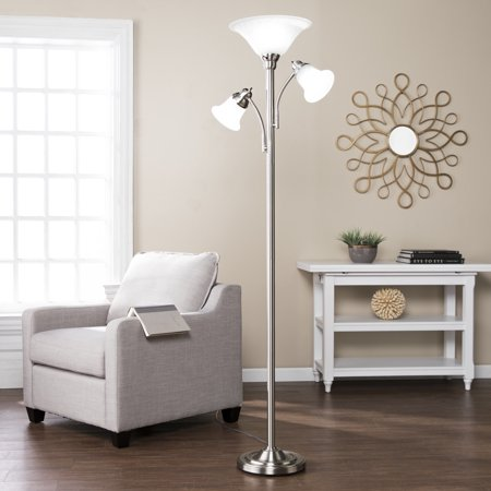 Southern Enterprises Itell Three Light Floor Lamp, Universal Style, Brushed Nickel - Enterprises Polished Nickel Floor Lamp