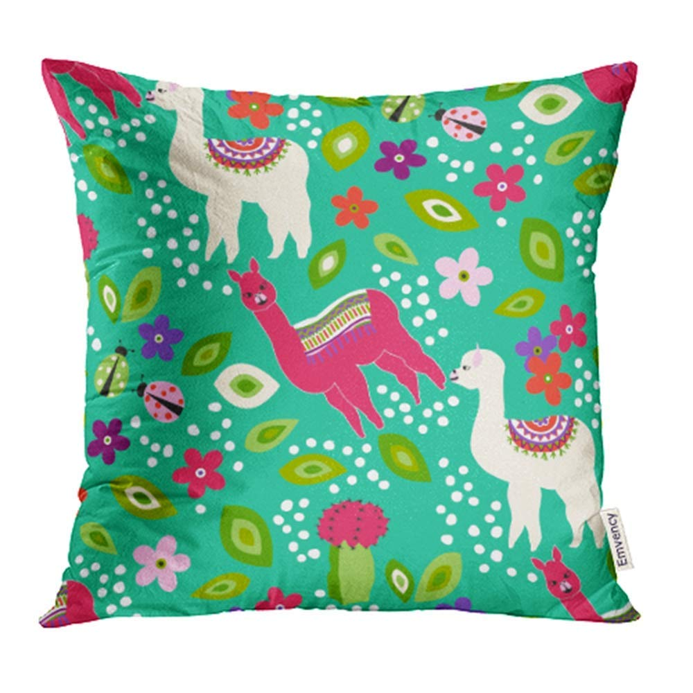 USART Cute Llama Small Leaf Flower Cactus Ladybug on Turquoise Pattern Kid Pillowcase Cushion Cases 18x18 inch