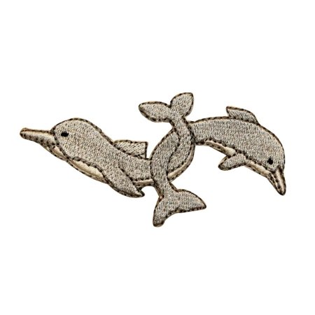 Luck Patch (ID 0287 Two Dolphins Locking Tails Patch Animal Embroidered Iron On)