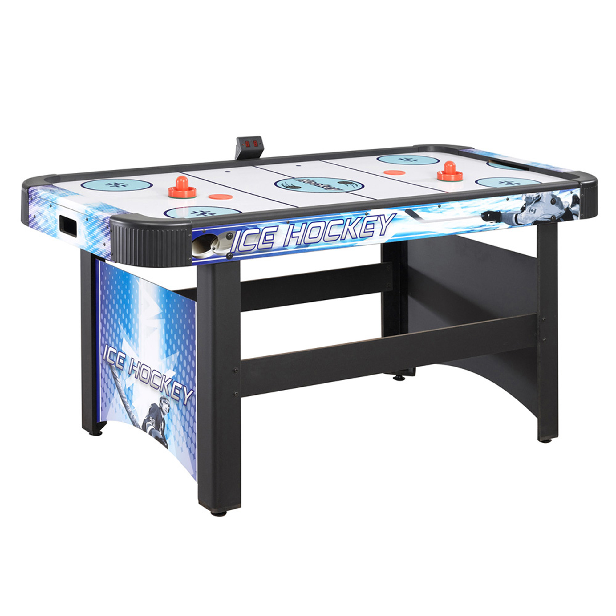 Hathaway Face-Off 5-Foot Air Hockey Game Table for Family Game Rooms with Electronic Scoring, Free Pucks & Strikers by Blue Wave