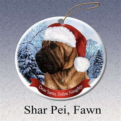 Holiday Pet Gifts Shar Pei, Fawn Santa Hat Dog Porcelain Christmas Tree Ornament