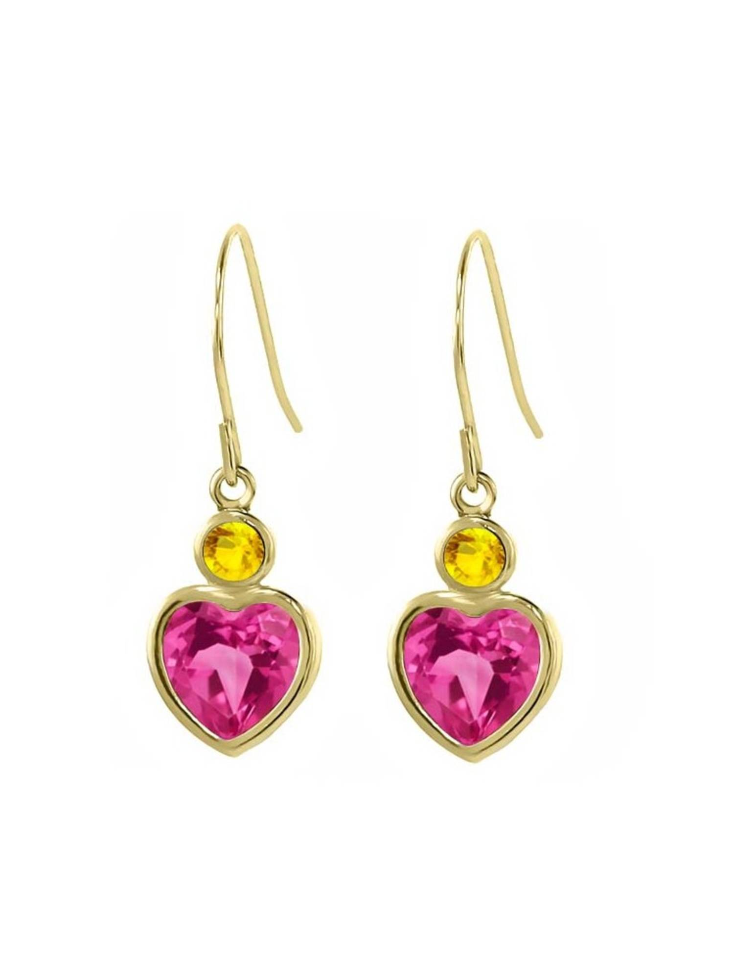 2.40 Ct Pink Created Sapphire Yellow Sapphire 14K Yellow Gold Earrings by