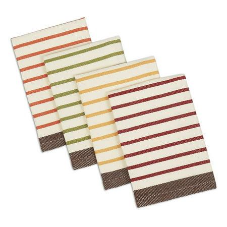 DII Harvest Prep Stripe Woven Dishcloth (Set of 4), 13x13
