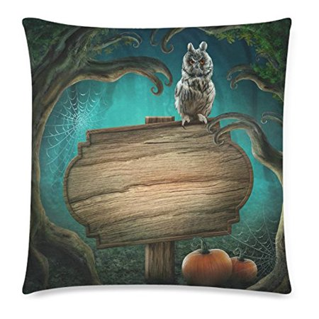 ZKGK Hipster Owl Halloween Home Decor, Wooden Sign Halloween Magic Dark Forest Pillowcase Cushion 18 x 18 Inches,Tree Hole Pillow Cover Case Shams - Wooden Halloween Signs